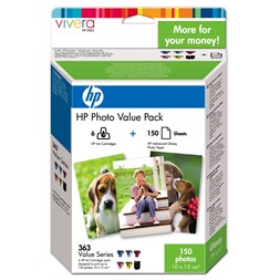 Blekk HP 363+papir Advanced Gloss (150)