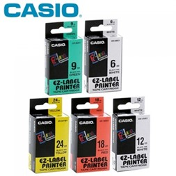 Tape Casio 12mm Sort/Hvit