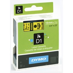 Tape DYMO D1 19mm x 7m sort på gul