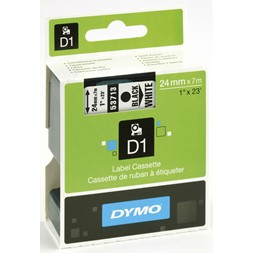 Tape DYMO D1 24mm x 7m sort på hvit