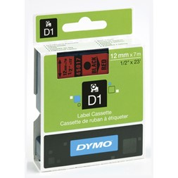Tape DYMO D1 12mm x 7m sort på rød
