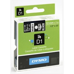 Tape DYMO D1 12mm x 7m hvit på sort
