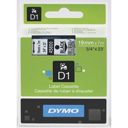 Tape DYMO D1 19mm x 7m sort på klar