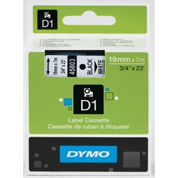 Tape DYMO D1 19mm x 7m sort på hvit